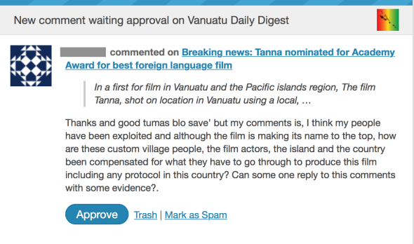 Comment made to Vanuatu Daily Digest claiming exploitation by the filmmakers who made 'Tanna'