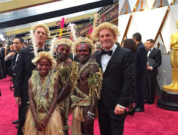 Red carpet kastom – directors and cast of Tanna at last night's Academy Awards in Los Angeles, USA. Photo: @tannamovie/Twitter