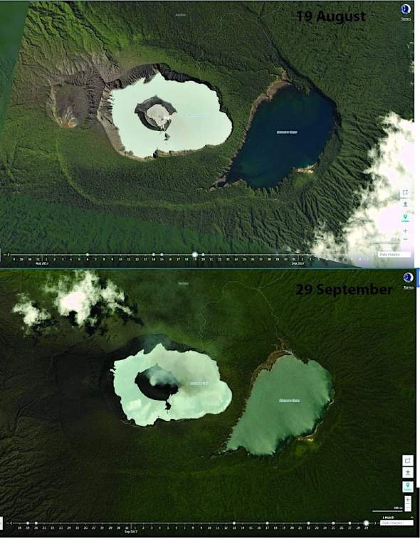 These satellite images, taken 19 August (top) and 29 September (bottom) show the rapid growth of the Manaro Voui volcanic cone. Photo: via Twitter/@planetlabs