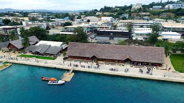 An aerial view of the newly launched VIla seafront beautifications. Photo: @EIF4LDCs/Twitter